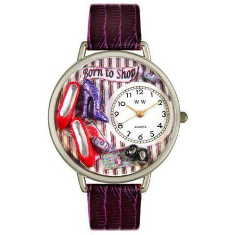 Whimsical Unisex Shoe Shopper Purple Leather Watch