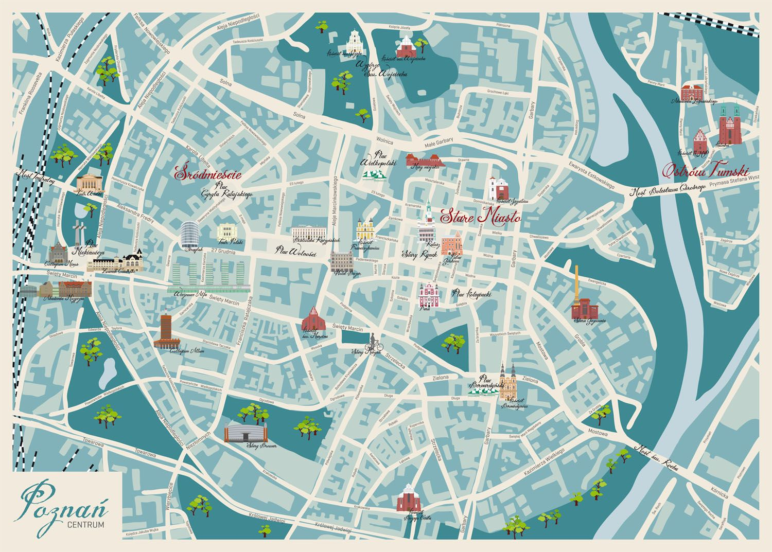 My Illustration Graphic Map Of Poznan Poland Illustrated Map