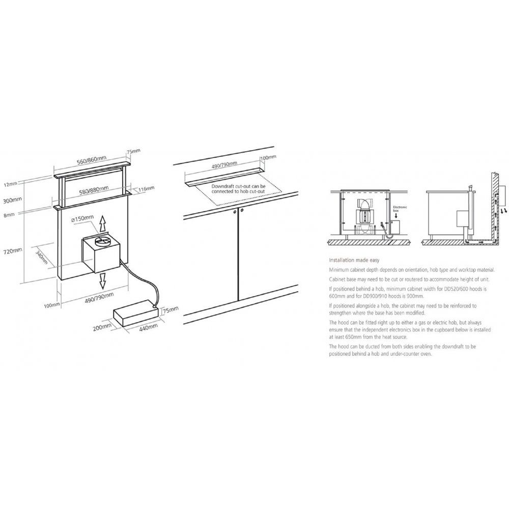 Stainless Steel Inline Fan Motors : Caple downdraft extractor hood cm stainless steel with