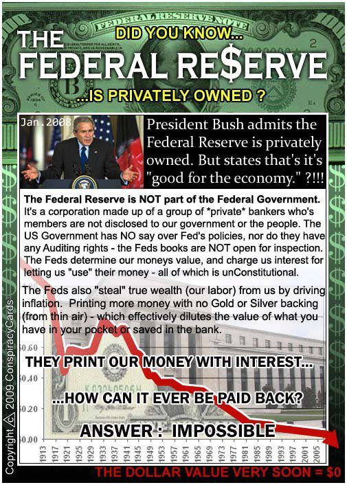 The Federal Re$erve is privately owned.  Facebook - via http://bit.ly/epinner