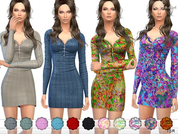 The Sims Resource: Ribbed Thermal Dress by ekinege • Sims 4