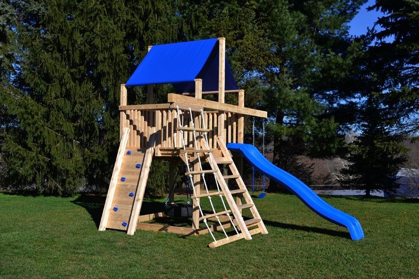 compact swing sets small yards cedar swing sets the bailey space saver climber - Cedar Swing Sets