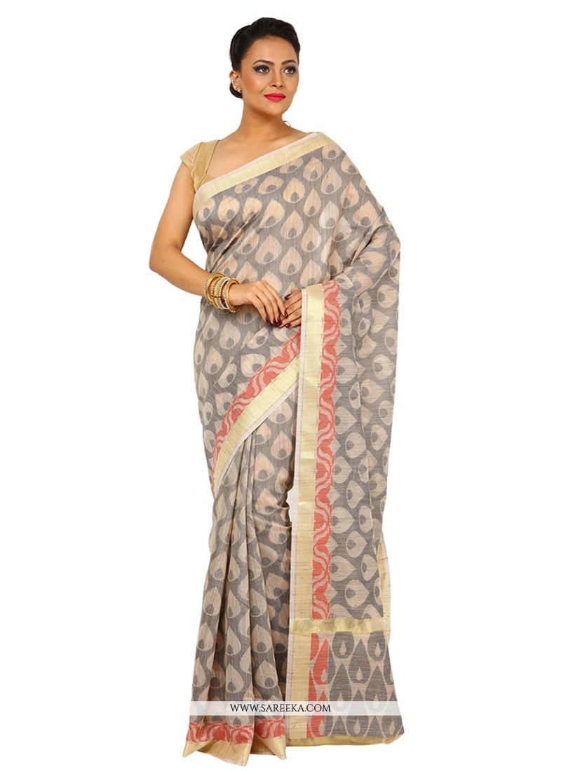Real attractiveness will come out of your dressing style with this beige tussar silk designer traditional sarees. The ethnic weaving work to your apparel adds a sign of magnificence statement with a l...