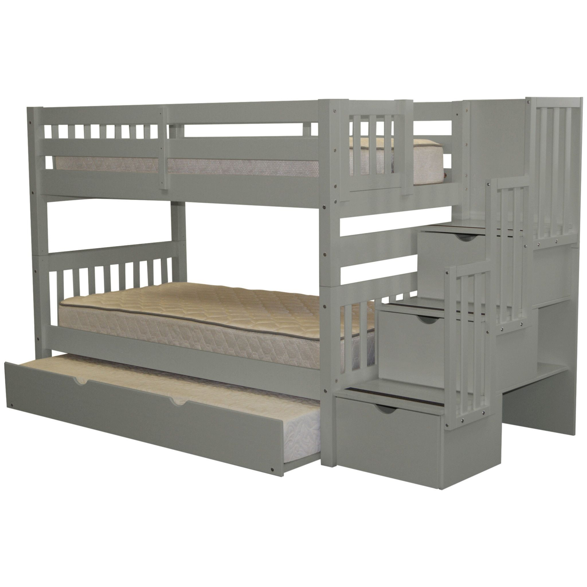 Bedz king stairway grey wood twin bunk bed with 3 drawer step ladder and trundle bed twin over - Bunk bed with drawer steps ...