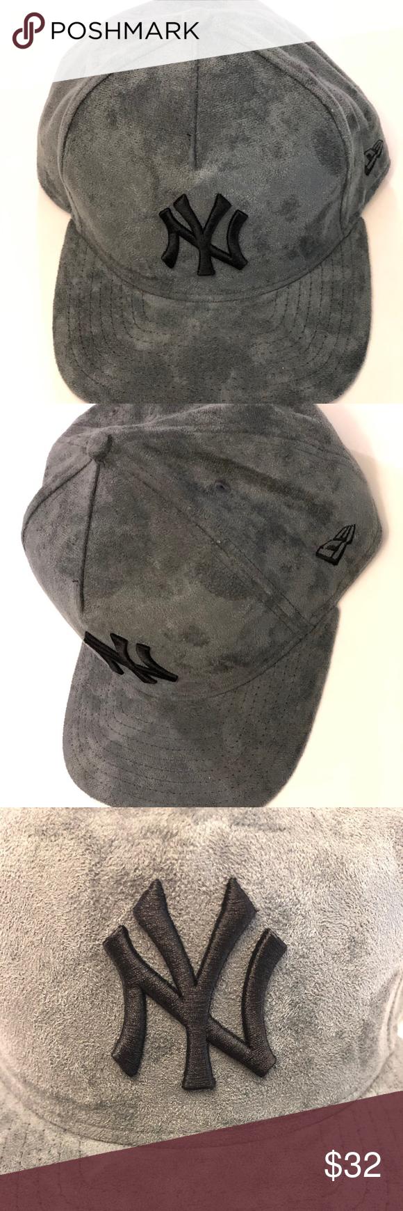 New York Yankees Dark Gray Suede Gray Faux Patent New Era Original Fit Snapback