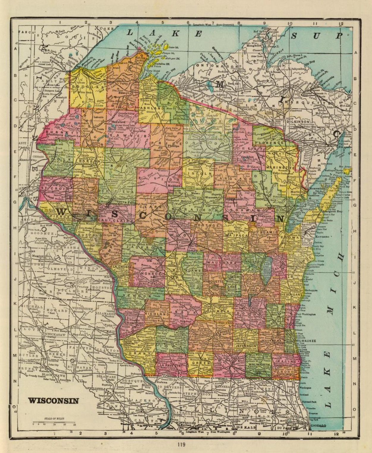 Map Of Wisconsin Published By George F Cram Chicago Ill - Ill map