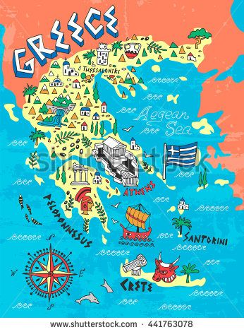 illustrated map of greece map travel flags maps in 2018
