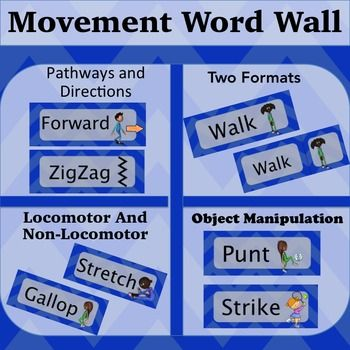 Movement Words Blue Locomotor Non Locomotor Directions And Pathways Movement Words Physical Education Lessons Adapted Physical Education