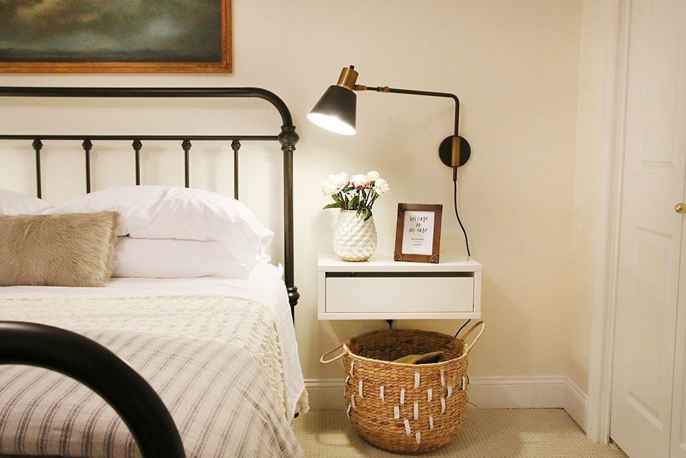 A Guest Room Update Our Favorite Things To Include Bedroom Night Stands Floating Shelves Bedroom Bedroom Inspirations