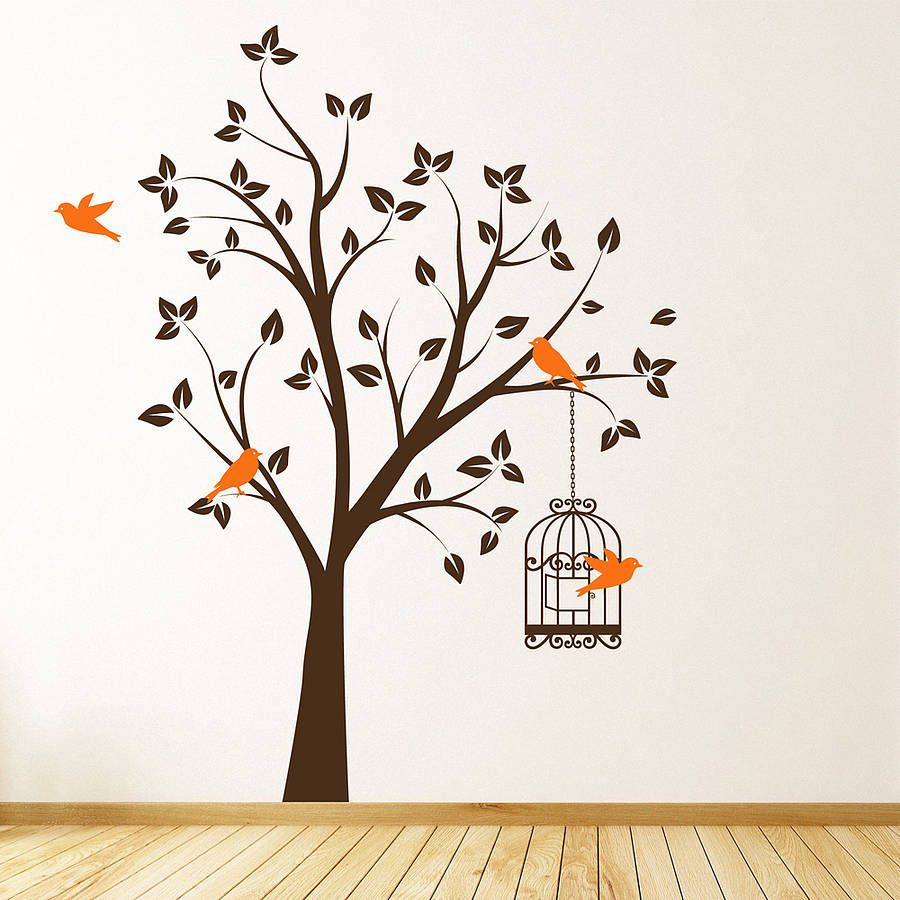 tree with bird cage wall stickers kitchen wall stickers on wall stickers painting id=83387