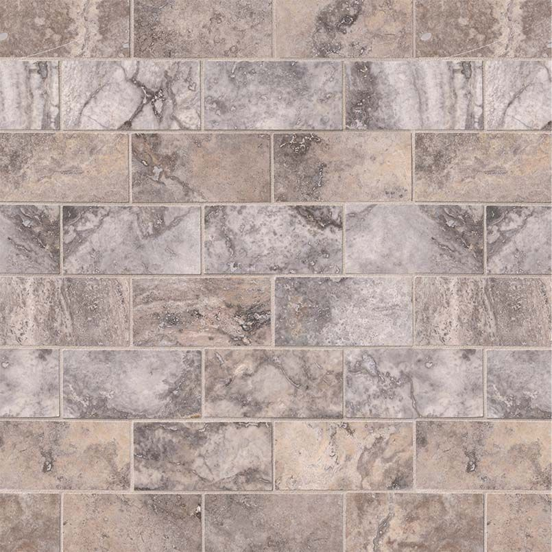 silver travertine subway tile honed 3x6