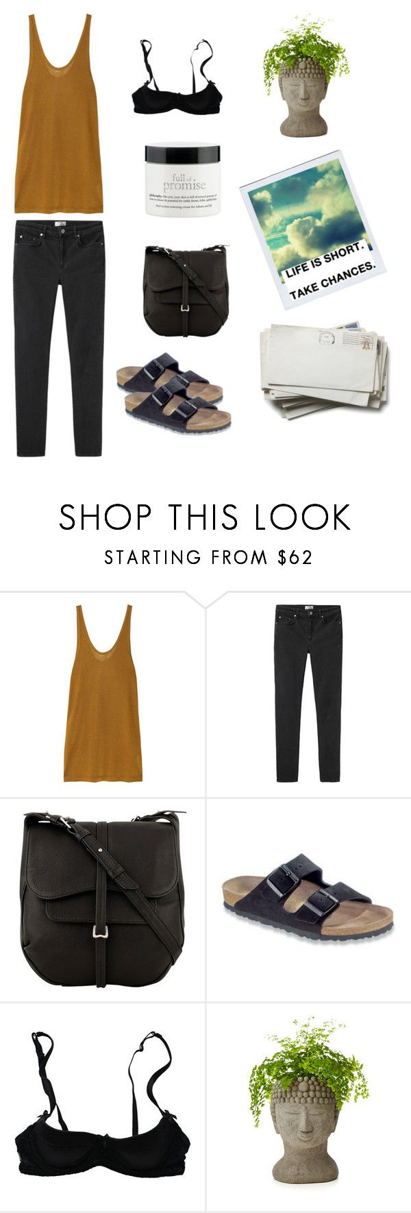 """""""Life is short, take chances."""" by pammxx ❤ liked on Polyvore featuring T By Alexander Wang, Acne Studios, Radley, Mimi Holliday by Damaris, Polaroid, philosophy, StreetStyle, birkenstock, CasualChic and minimalism"""
