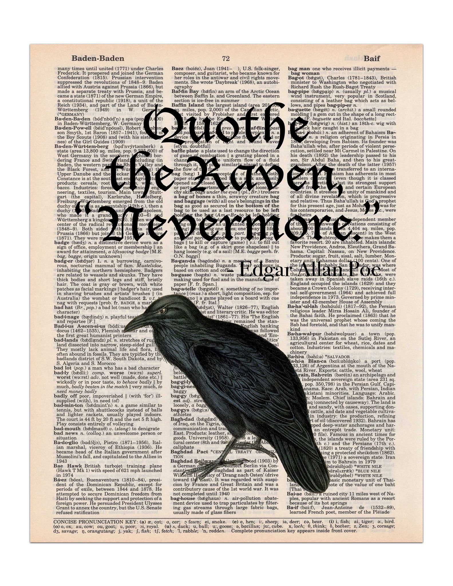 The Raven Edgar Allan Poe Quote Dictionary Page Art