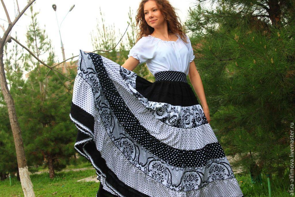 Длинная многоярусная юбка купить