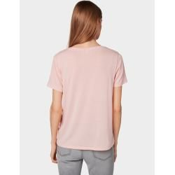 Photo of Tom Tailor Denim Damen T-Shirt mit V-Ausschnitt, rosa, unifarben, Gr.xs Tom TailorTom Tailor