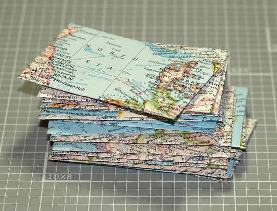 Map envelopes 25 mini envelopes business card size thank you map envelopes mini map envelopes handmade from a vintage national geographic atlas business card colourmoves