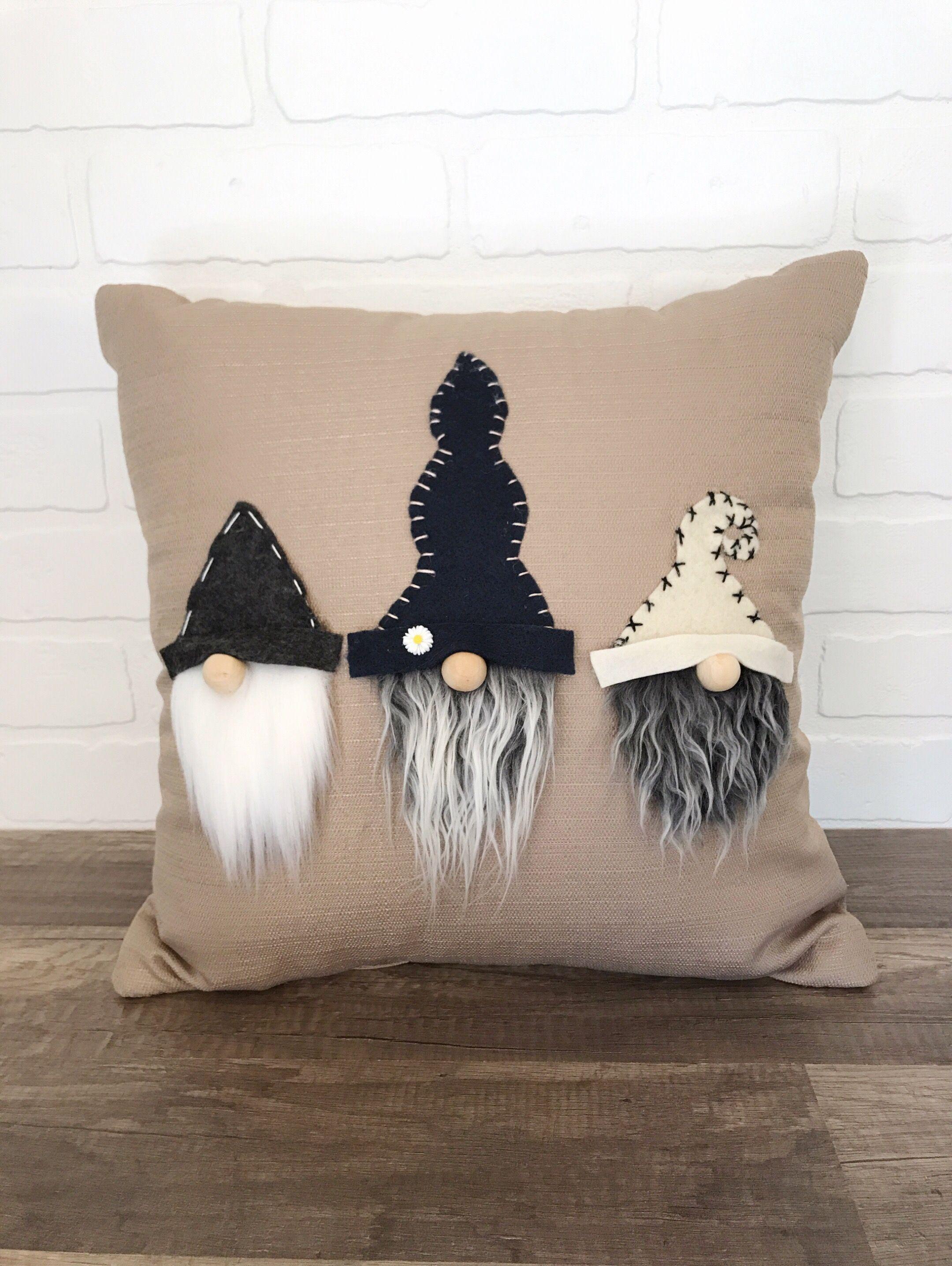 Adorable Neutral Gnome Pillow Handmade Gnome Throw Pillow Living