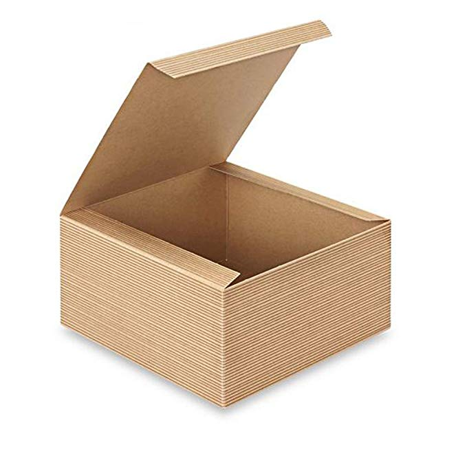 Amazon Com Awepackage 12 Count Of Pinstripe Kraft Gift Box 8x8x4 Home Kitchen Kraft Gift Boxes Gift Box Gifts