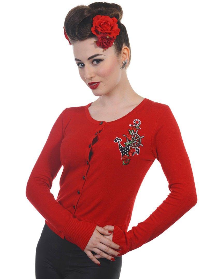 gilet cardigan rockabilly vintage retro rouge banned v tements rockabilly femme pinterest. Black Bedroom Furniture Sets. Home Design Ideas