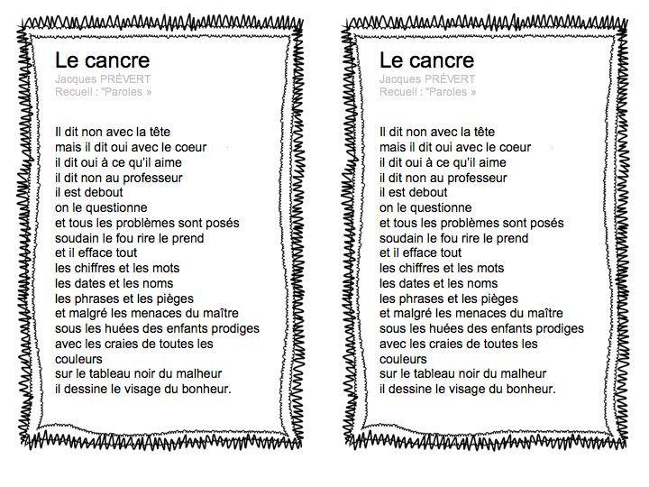 Le Cancre Jacques Prévert Rentrée En Ce1 Ce2 Ce1 Ce2