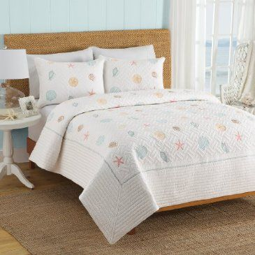 Shell Island Quilt Queen King Quilt Coastal Cottage Master Bedroom Shell Island