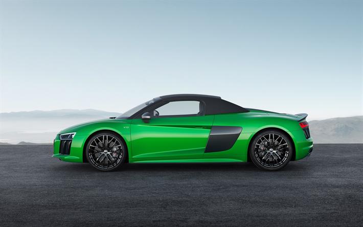Lataa kuva Audi R8 Spyder, 2017, R8 V10 Plus, Vihreä R8, urheilullinen coupe, uusia autoja, Saksan autoja, Audi