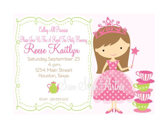 Princess Birthday Tea Party Invitation Tea By Samskyeparties