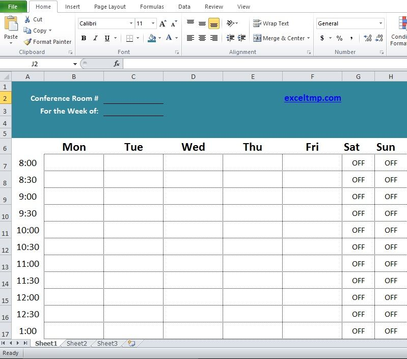 Professional Conference Room Scheduler Template Company Templates - excel spreadsheet template scheduling