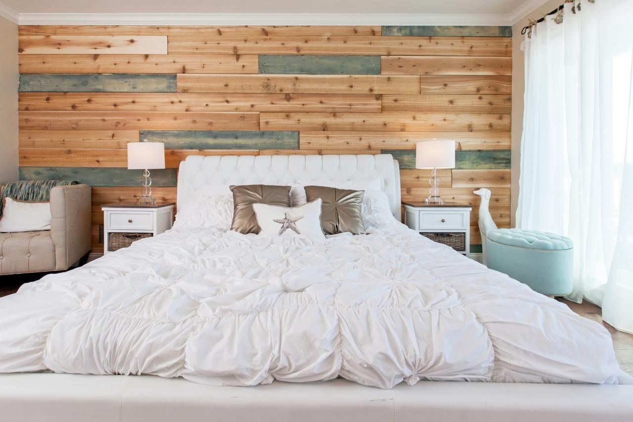Bedroom Decor Ideas Feature Wall traditional beach house bedroom with a twist from hgtv's beach
