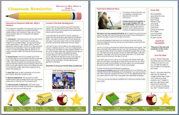 Microsoft Word  Newsletter Templates    For Children