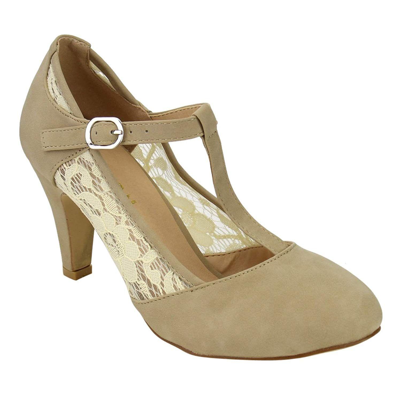 58c44786dfcd BESTON DE31 Women s Floral Lace T-Strap Mary Janes Dress Pumps One Size  Small.Women s Shoes