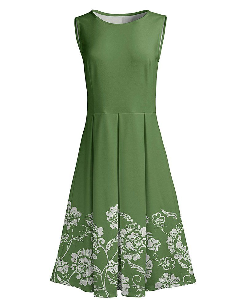 Leani Womens Vintage Sleeveless Floral Print Pleated Tank Midi Dress Summer Casual Party Cocktail Dress Details Can Be Fit Flare Dress Flare Dress Dresses [ 1001 x 800 Pixel ]