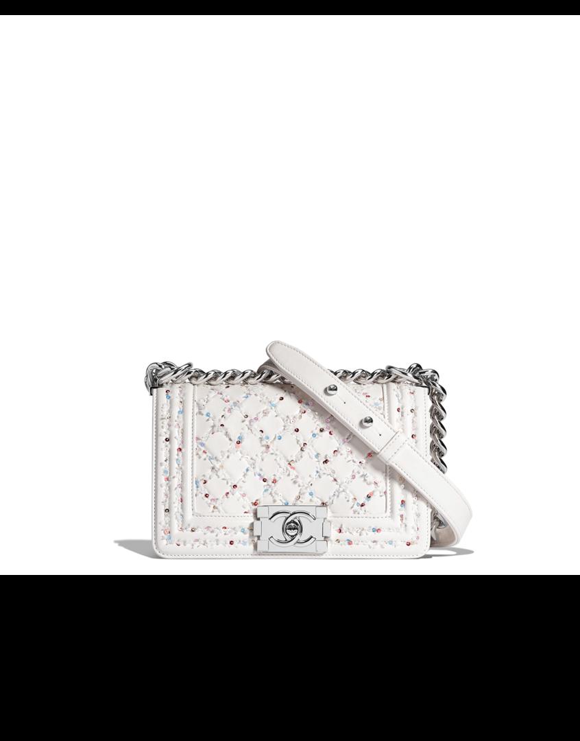 4ab343fa4fd6 Small BOY CHANEL handbag, embroidered lambskin & silver-tone metal-white &  multicolor - CHANEL