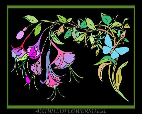 Fuchsia Digi Stamp & Coloring Pages  Digital @ArtWildflowersDigi #etsyspecialT #integrityTT #etsyhmw #etsyshp