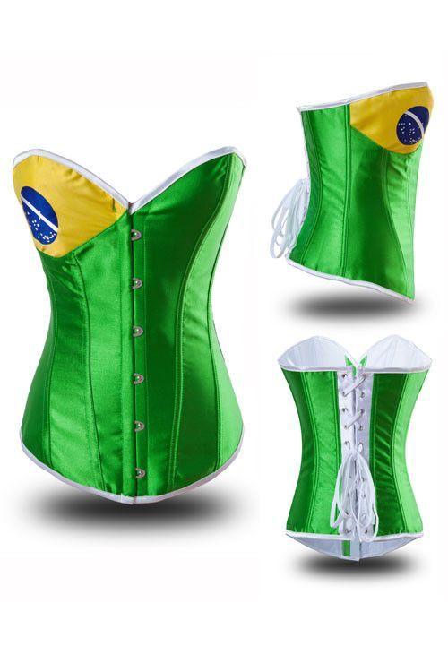 Brazil Flag Overbust Corset