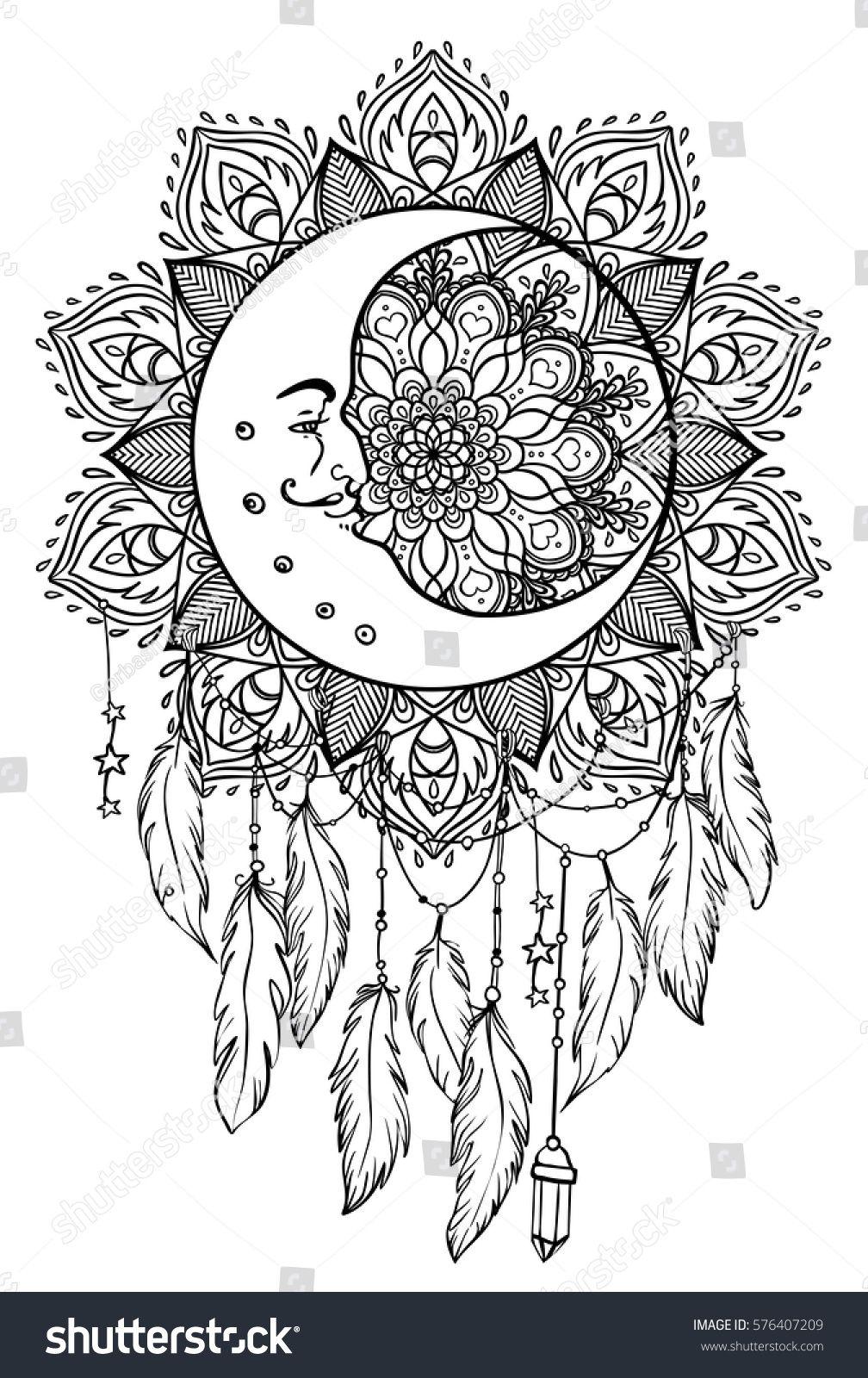 Hand drawn Native American Indian talisman dreamcatcher ...