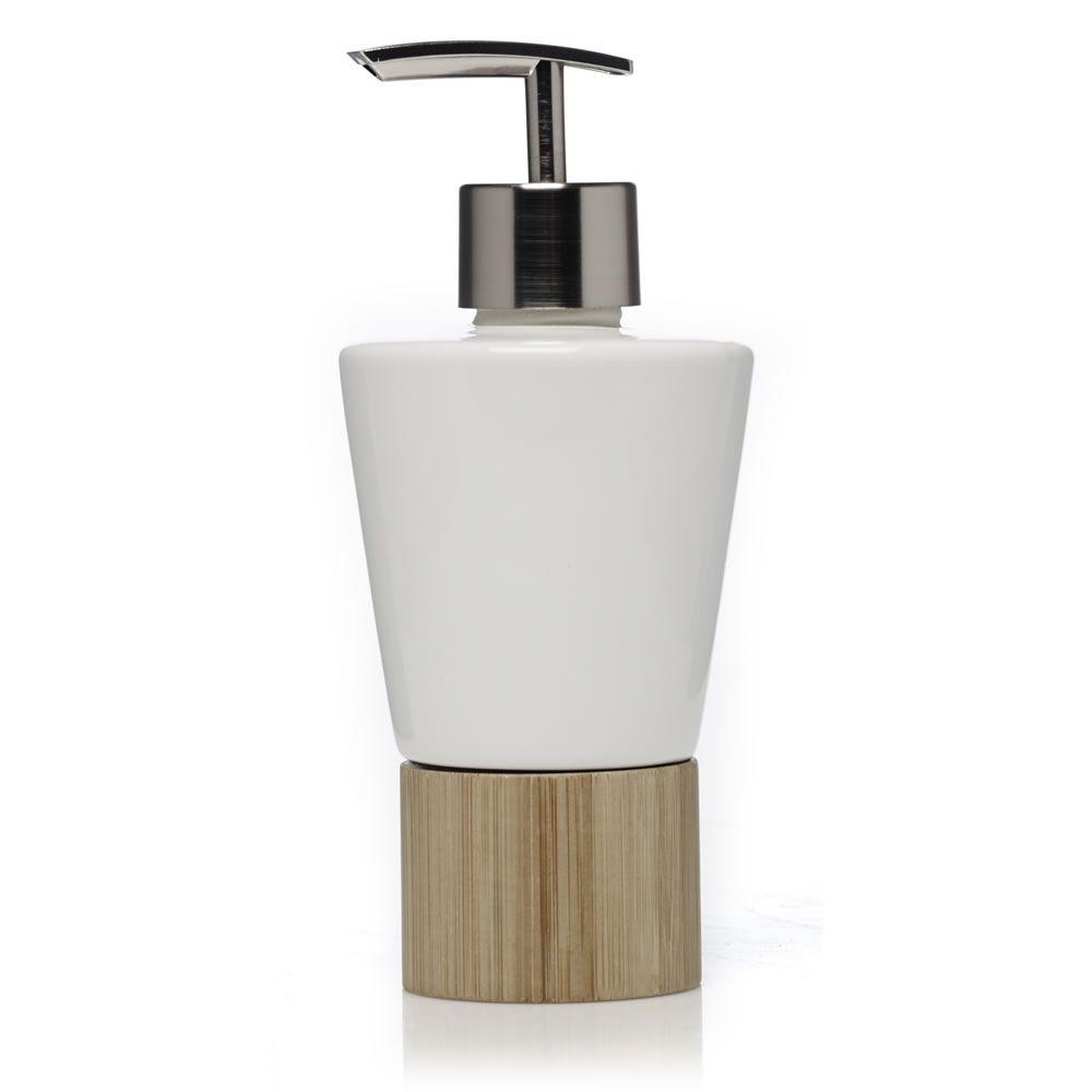 Wilko Bamboo Soap Dispenser Ceramic White at wilko.com | Bathroom ...