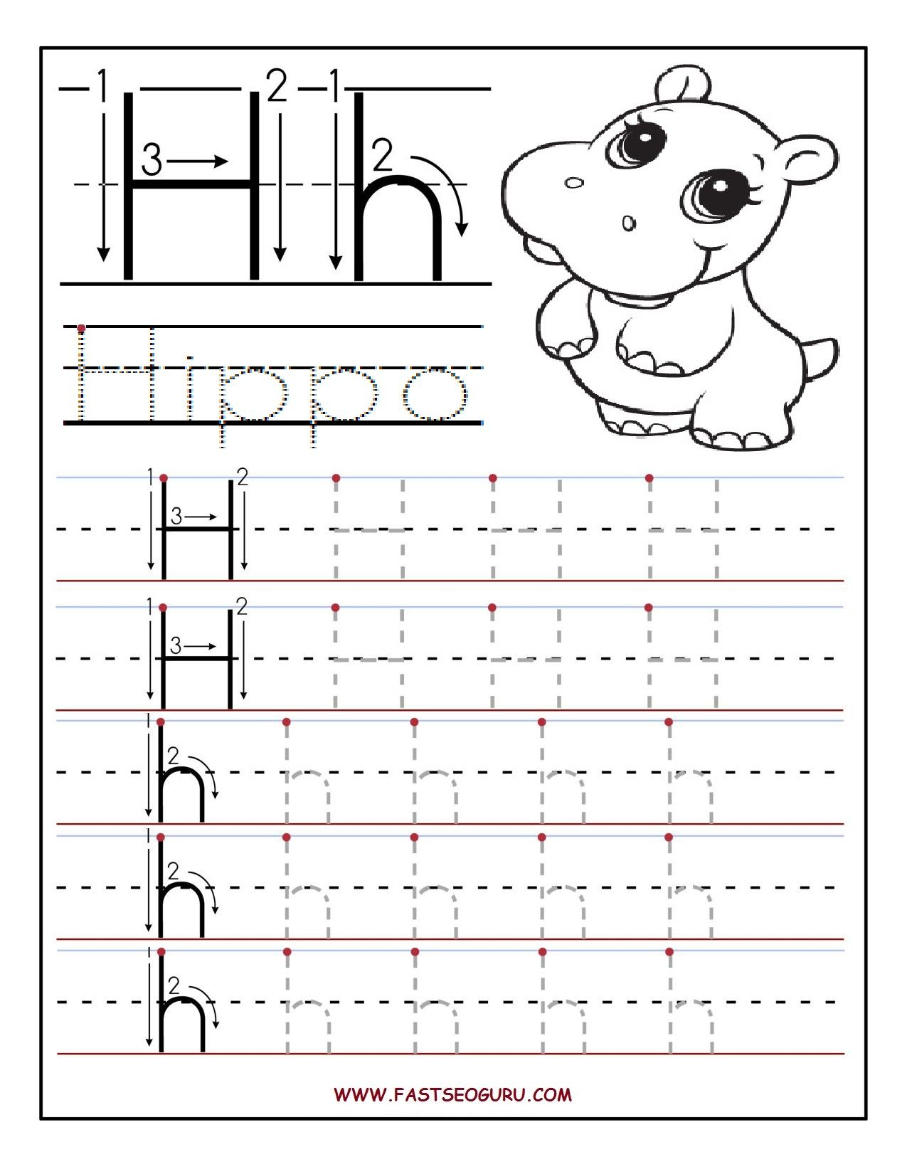 Printable letter H tracing worksheets for preschool | Projects by ...