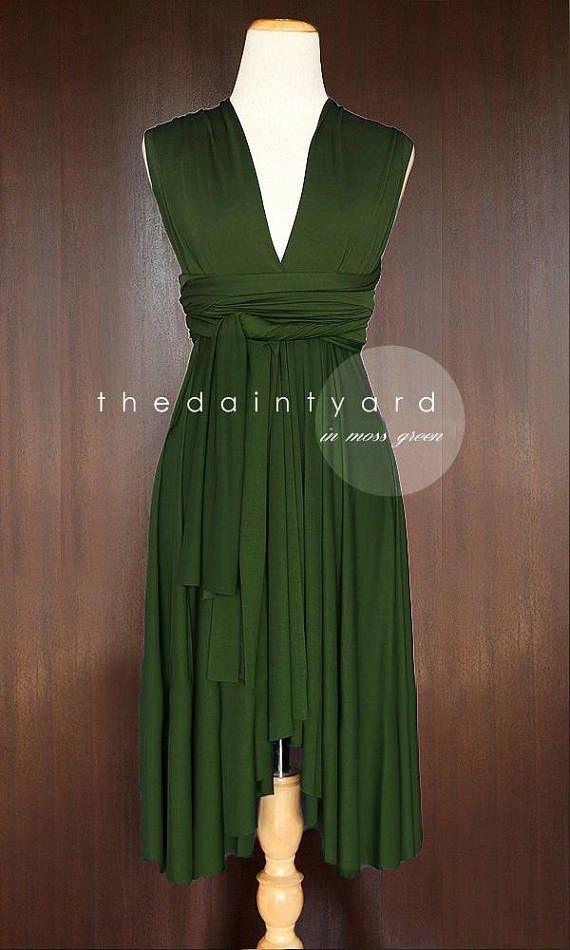 b4b58b4d209 Moss Green Bridesmaid Dress Convertible Dress Infinity Dress Multiway Dress  Wrap Dress Wedding Dress