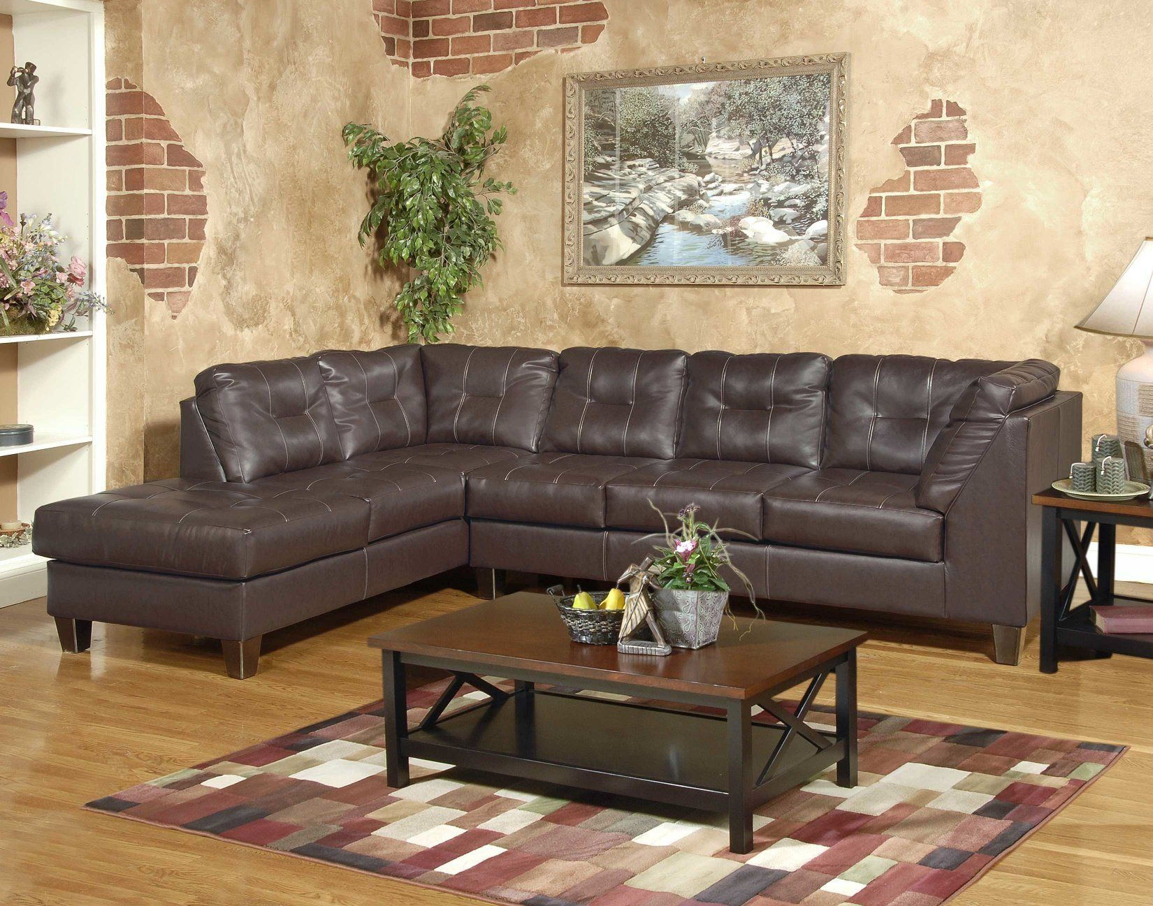 Roundhill Furniture Marinio Chocolate Faux Leather Left Chaise Sectional Sofa Sectional Sofa Sectional Sofas Living Room Sectional Sofa Couch
