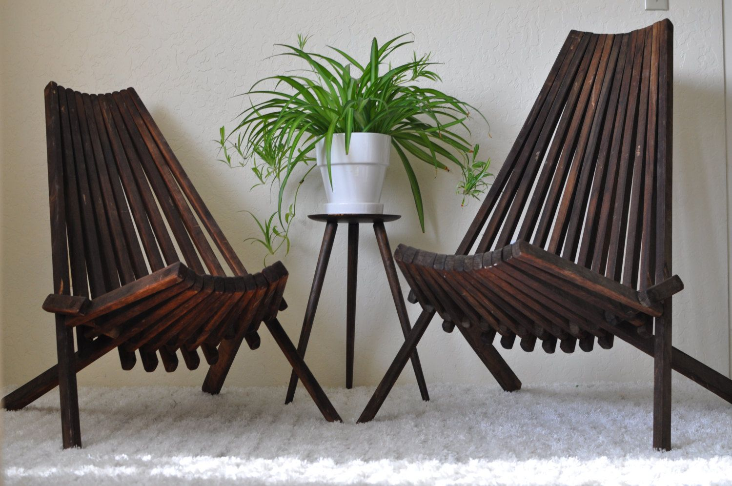 Mid Century His Hers Low Slatted Stick Folding Wood Modern