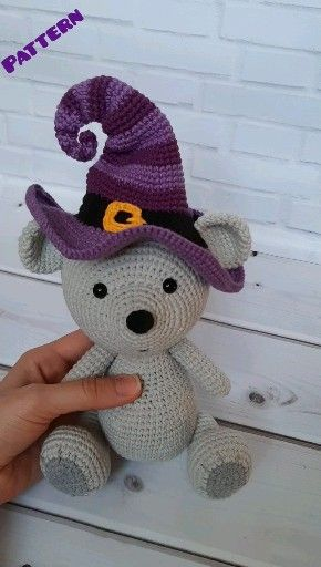 Halloween crochet toy pattern Amigurumi bear in witch hat Crochet pumpkin  #stuffedtoyspatterns