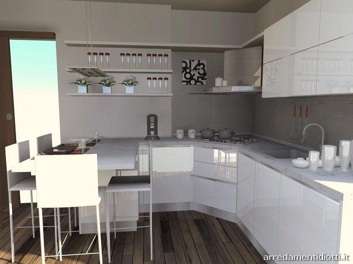 Cucina moderna con penisola bianca lucida 6 700 for Cucina moderna bianca lucida