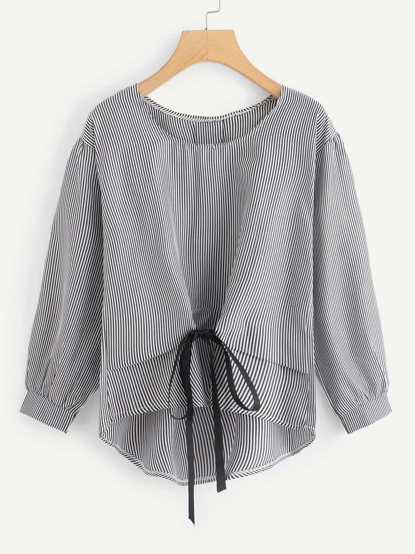Casual striped asymmetrical top regular fit round neck