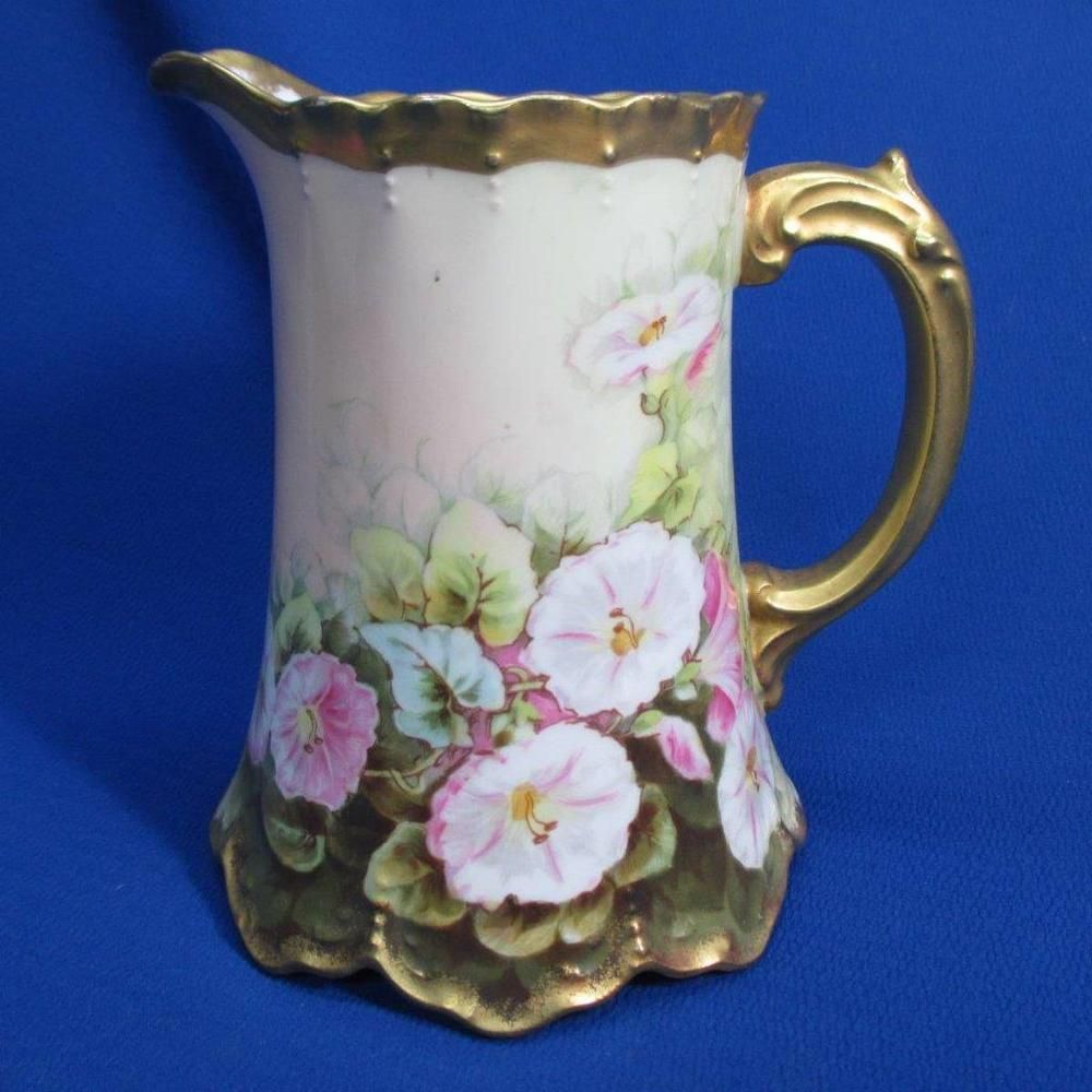 HAND-PAINTED LIMOGES PITCHER WITH MORNING GLORY FLOWERS ARTIST SIGNED L. BART