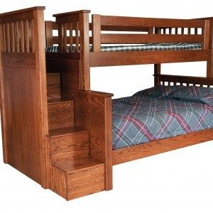 Mission Bunk With Steps Buckeye Woodcraft Bunk Beds With Stairs Wood Bunk Beds Bunk Bed Steps