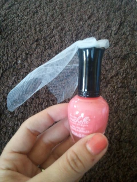 Bridal shower favors. Cut pieces of tulle and hot glue them to ...