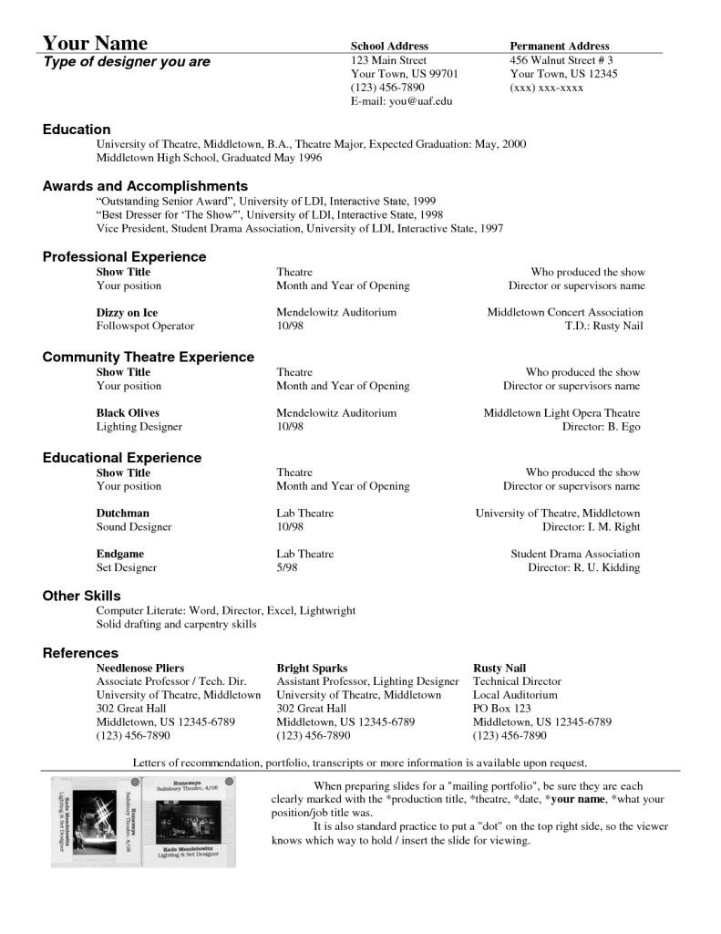 Theatre Resume Template To Theatrical Resume Template