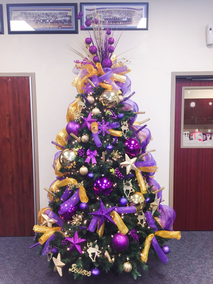 stepped up my decorating skills this year purple and gold christmas tree