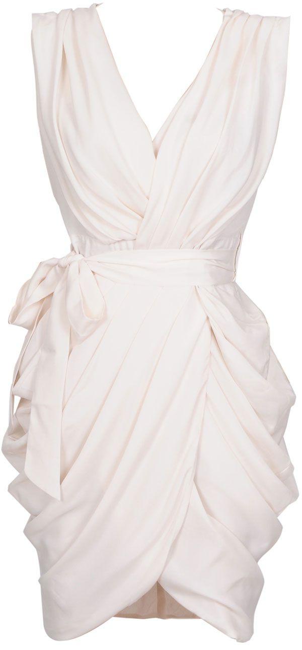 white chiffon wrap dress $149